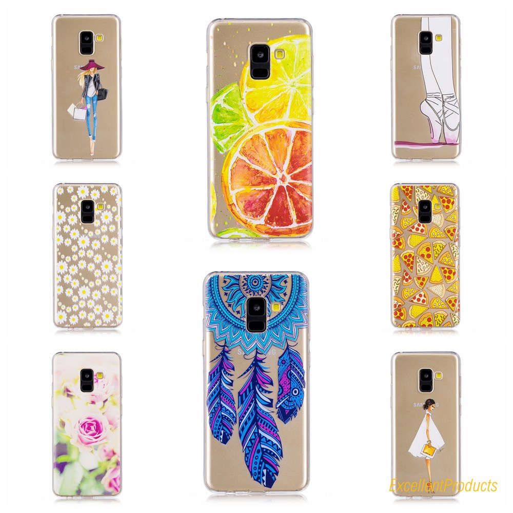 2018 New Fashion 10 styles Cool Design Soft Silicone TPU Case Back Cover For Samsung A7 2018 Phone Cases coque capa etui shell