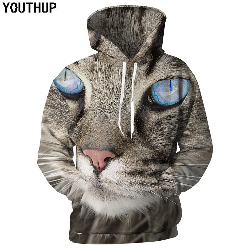 YOUTHUP 2018 New Autumn Hoodies Men 3d Hoodies Anime 3d Print Cat Hooded Sweatshirts Men Cool Lovely Unisex Hoodies Streetwear