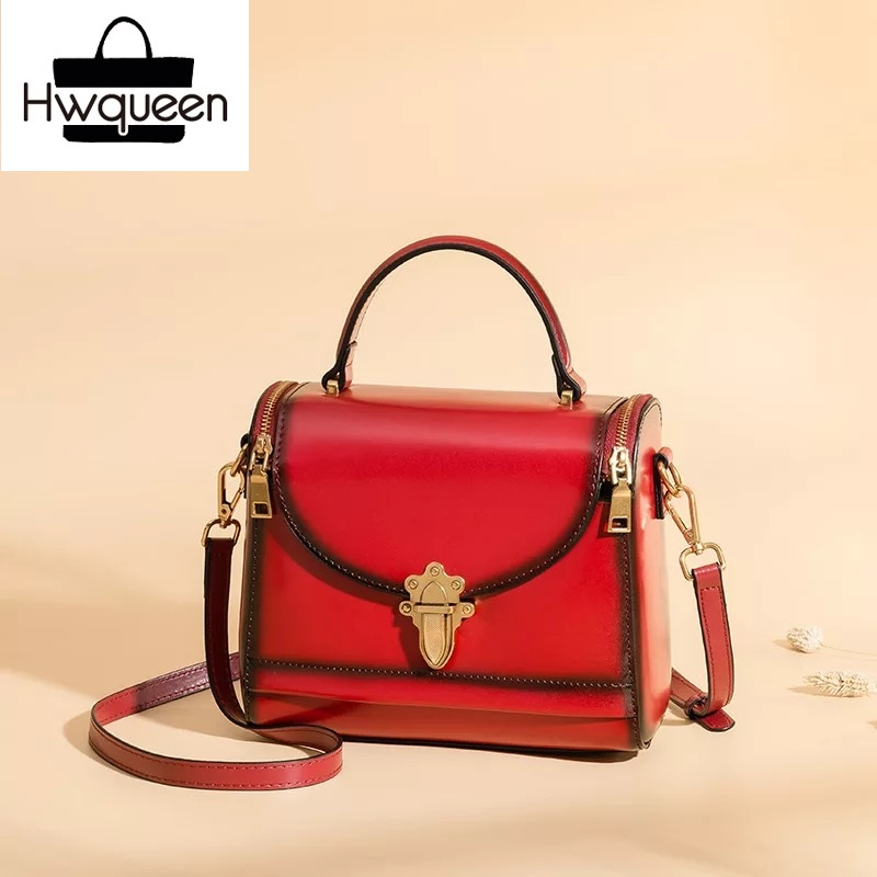 Luxury Designer Women Small Metal Lock Closure Doctor Purse Genuine Leather Female Shoulder Bag Cowskin Ladies Handbag Sling Bag