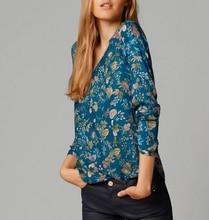 Blusas Femininas 2015 New Women Fashion Floral Print  Chiffon Blouse Shirts Long Sleeve V-Neck Summer Tops Shirts Casual Top