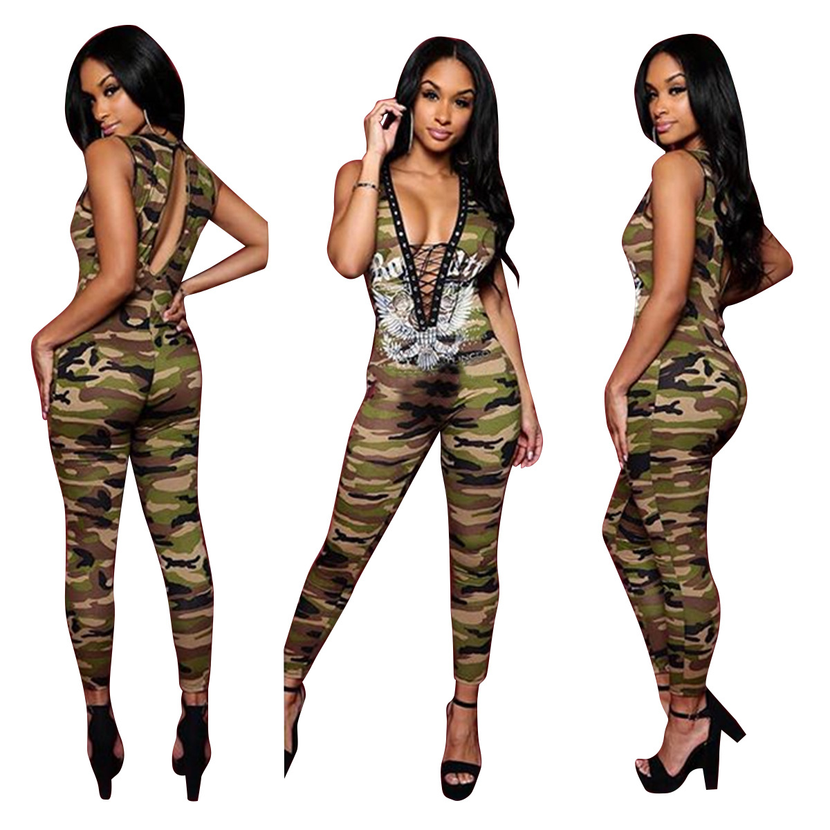 plus size jumpsuits for women 2018 camouflage overalls New Women Ladies Clubwear Summer Playsuit Bodycon Bodys Mujer Combinaison