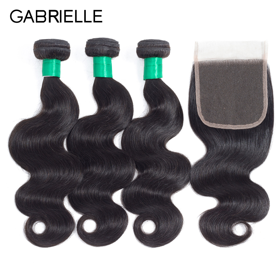 Gabrielle 100 Human Hair Bundles with Closure Brazilian Remy Hair Body Wave Natural Color 4 4