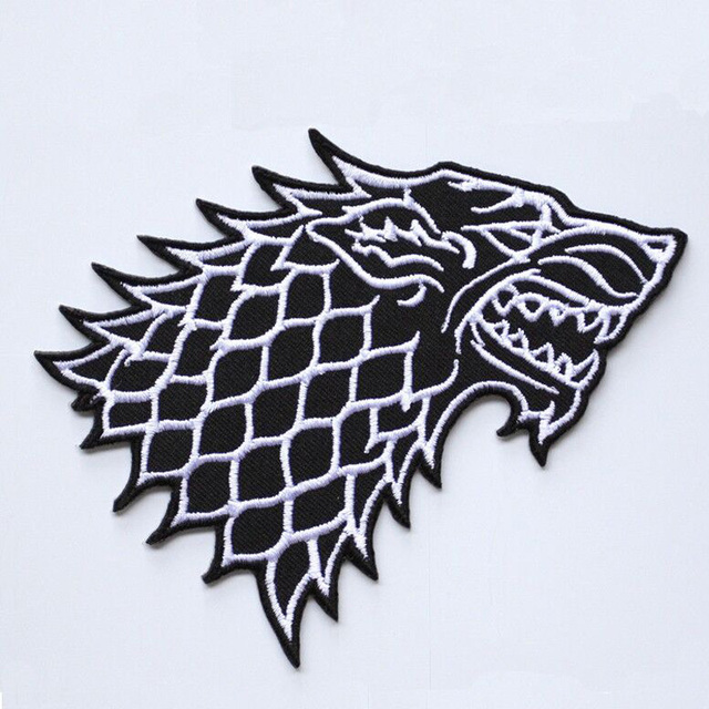 "3"" game of thrones stark direwolf winter is coming logo patch."