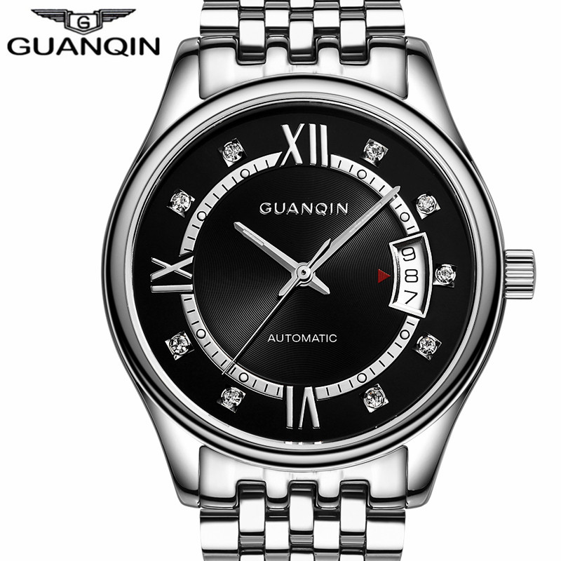 Montre Homme GUANQIN Automatic Mechanical Watch Men Fashion Luminous Analog Clock Stainless Steel Wristwatch Relogio Masculino