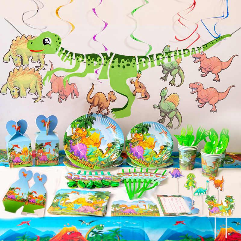 Animaux sauvages vaisselle jetable dinosaure fête fournitures joyeux dinosaure fête d'anniversaire décors enfants Safari Jungle fête ballons