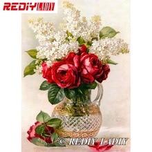 28,5x41 см точные напечатанные наборы для вышивки хрустальными бусинами цветы с вазой вышивка бисером рукоделие вышивка бисером APT576