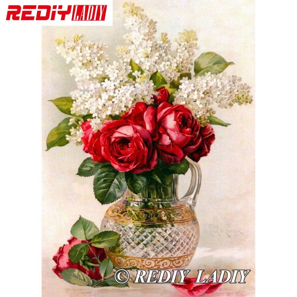 28,5x41 cm Genaue Gedruckt Kristall Perlen Stickerei Kits Blumen mit Vase Beadwork Handwerk Hand Perlen Kreuzstich APT576