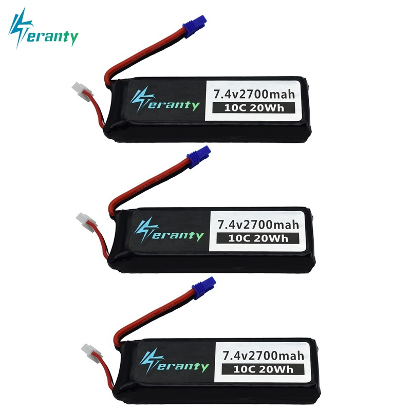 7.4V 2700mAh For Hubson H501W H501S H501C lipo battery 10C 20WH For RC Qaudcopter Drone Parts 2s 7.4 v Battery EC2 Plug 2/3/5pcs vho hubsan h501s lipo battery 7 4v 2700mah 10c batteies 3pcs with cable for h501c rc quadcopter airplane drone spare parts