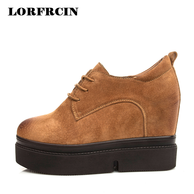 LORFRCIN Women Wedges Shoes Genuine Leather 10 cm High Heels Platform Shoes Woman Casual Pumps Hidden Heel Elevator Casual Shoe genuine leather shoes fashion2017 new autumn women wedges shoes high heel platforms for women casual shoes pumps elevator women