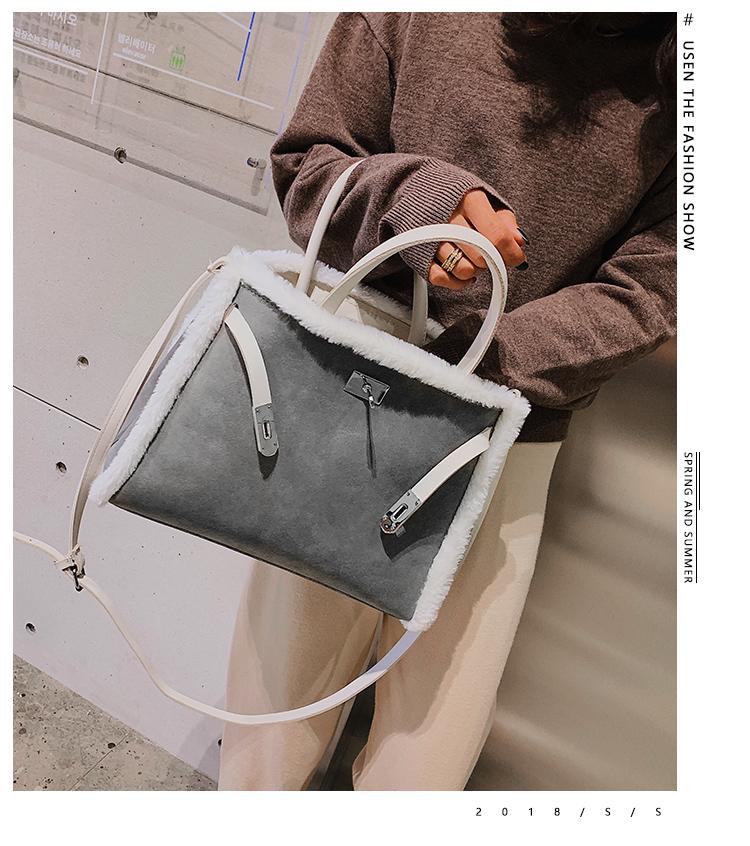 Korean handbag large capacity bucket hand bag designer big tote designer Fur women messengerc winter shopping wool no lock 83