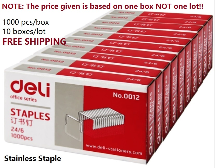 Stainless-Steel Staples Office-Accessories School-Supplies 1000pcs/Box For 12-Nail-24/6-Unified