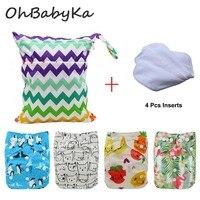 OhBabyKa Reusable Diapers Baby Nappies Cover Newborn Infant Pocket Cloth Diaper 4pcs+4pcs Microfiber Inserts+1Free Diaper Bag