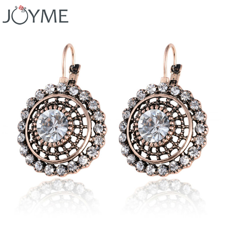 Joyme Vintage Ethnic Round Glass Crystal Punk Gypsy Antique Gold Long Drop Dangle Earrings For Women Fine Jewelry Orecchino