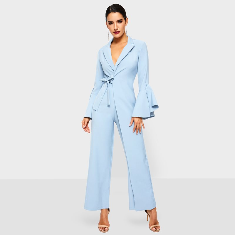 Women Wide Leg Jumpsuit Spring Office Wear Fashion Lace Up Flare Sleeve Gray Elegant Ladies Casual Business Work Long Jumpsuits