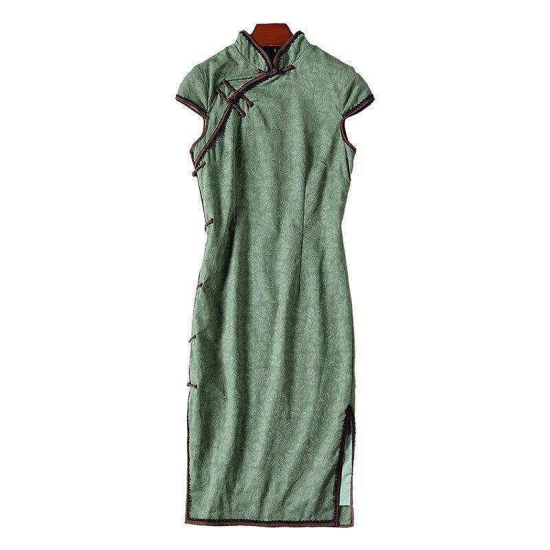 Jacquard A Chinois Femmes De Robe Vert D'été Partie Mode Et Nouveau Coton Le Lin Cru Amélioré Mince Cheongsam Luxe Lumière 2018 Style vwSqrAnfv