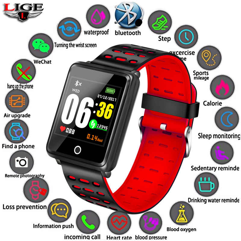 LIGE Smart Sport Bracelet Women IP68 Waterproof Watch Fashion Atmosphere Bluetooth Connection Heart Rate Monitor Call Reminder