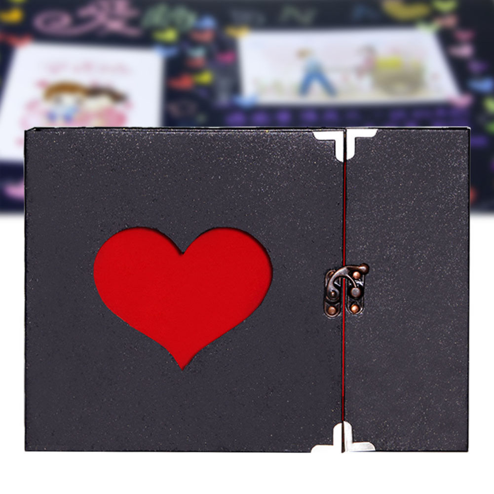 10 Inch Love Heart Hollow Out Design DIY <font><b>Scrapbook</b></font> <font><b>Album</b></font> 30 Black Pages Gift Box BDF99 image