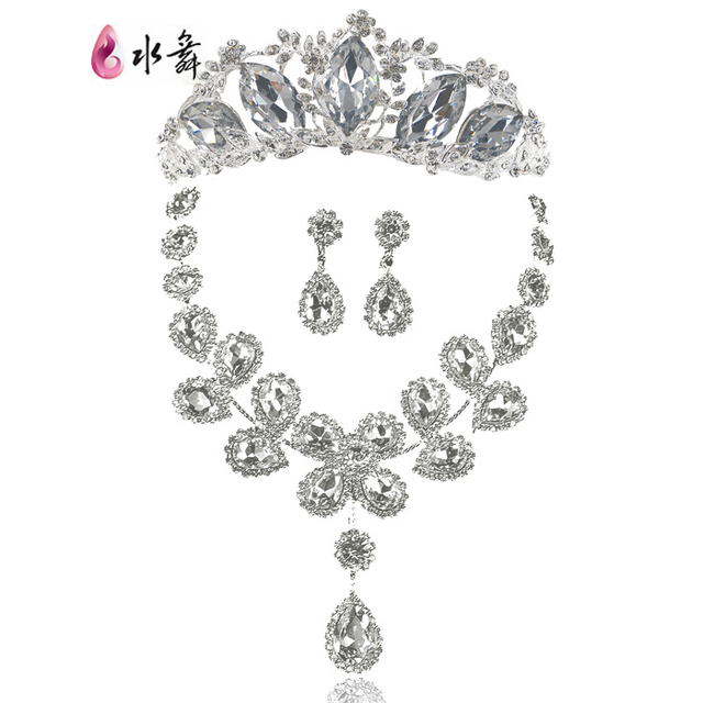 bride luxurious three-piece jewerly sets crystal chain necklace earrings tiara wedding jewelry sets