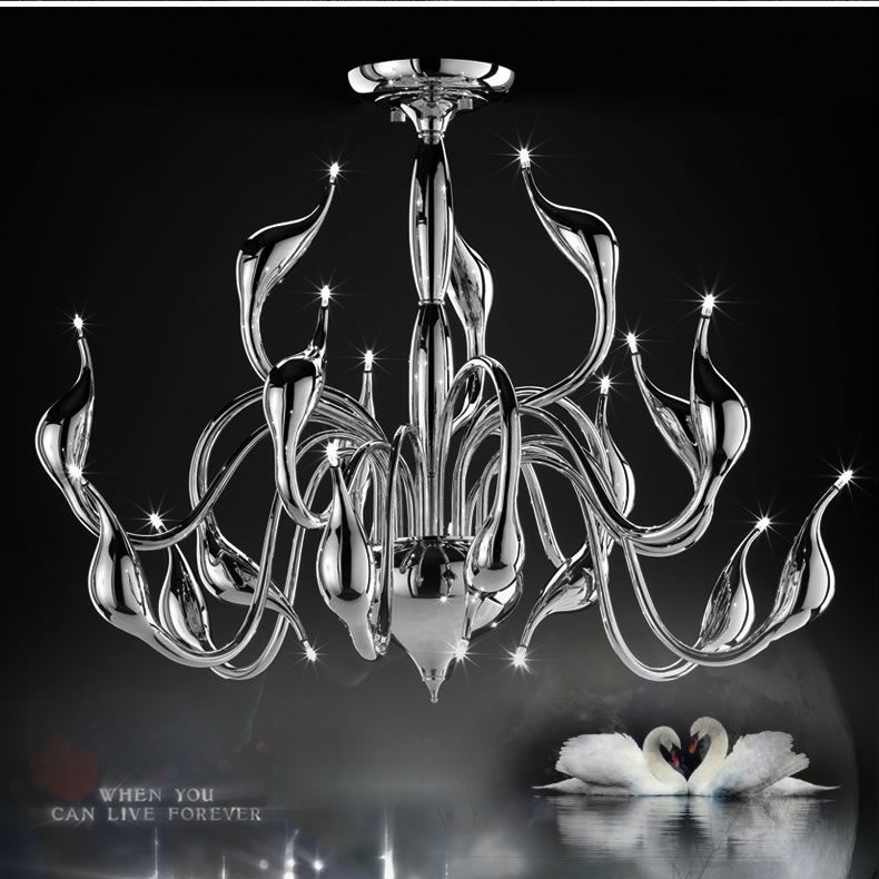 Moderno LED Lampadario swan luce 18 teste foyer decorazione luci led ...