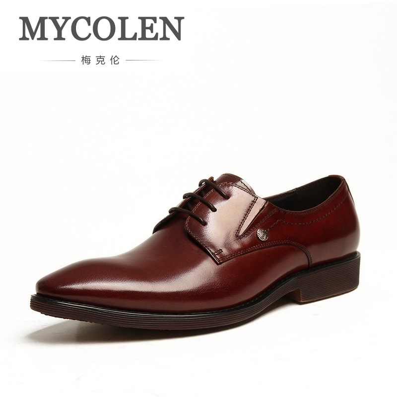 MYCOLEN Casual Men Flats Autumn Lace-Up Dress Shoes Business Leather Male Brogue Shoes Oxfords Men Wedding Rubber Shoes Men mabaiwan black genuine leather men shoes dress wedding male brogue shoes men lace up oxfords prom slipper business formal flats