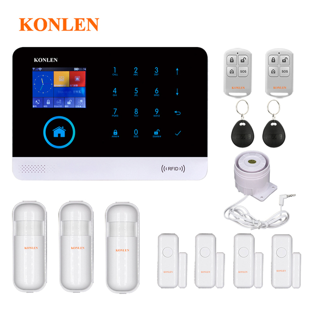 Android WIFI GSM Burglar Alarm System RFID For Home House Smart Residential Safety Security Alarms Wireless