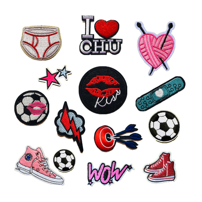 New Letter Fashion Computer Embroidery Cloth Football Love Heart Clothing Accessories DIY Decoration Cloth Sticker D-023