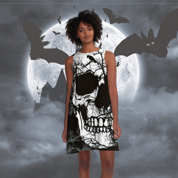 Tendy 3D Skull Printed Casual Loose Dress