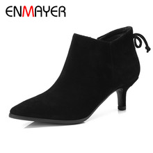 ENMAYER 2018 New Woamns Winter Shoes High Quality Zip Ankle Boots Lady Fashion Party Wedding Sexy Pointed Toe CY060