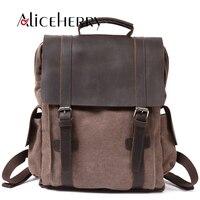 Fashion Men Multifunction Backpack Retro Canvas Backpack Canvas Leather Muchilas School Bag Portable Wearproof Travel Bag