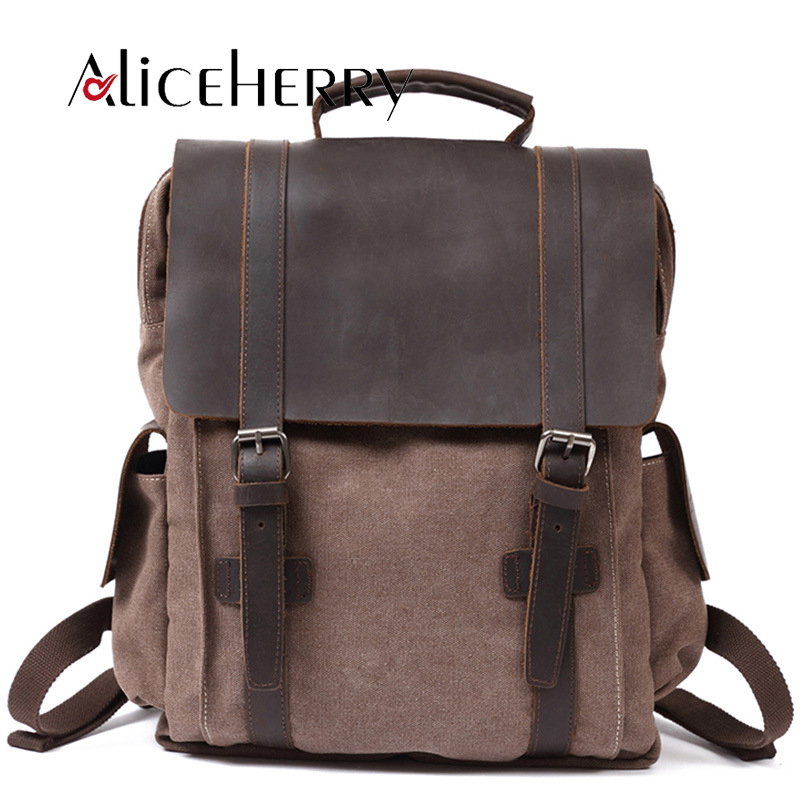 Fashion Men Multifunction Backpack Retro Canvas Backpack Canvas Leather Muchilas School Bag Portable Wearproof Travel Bag image