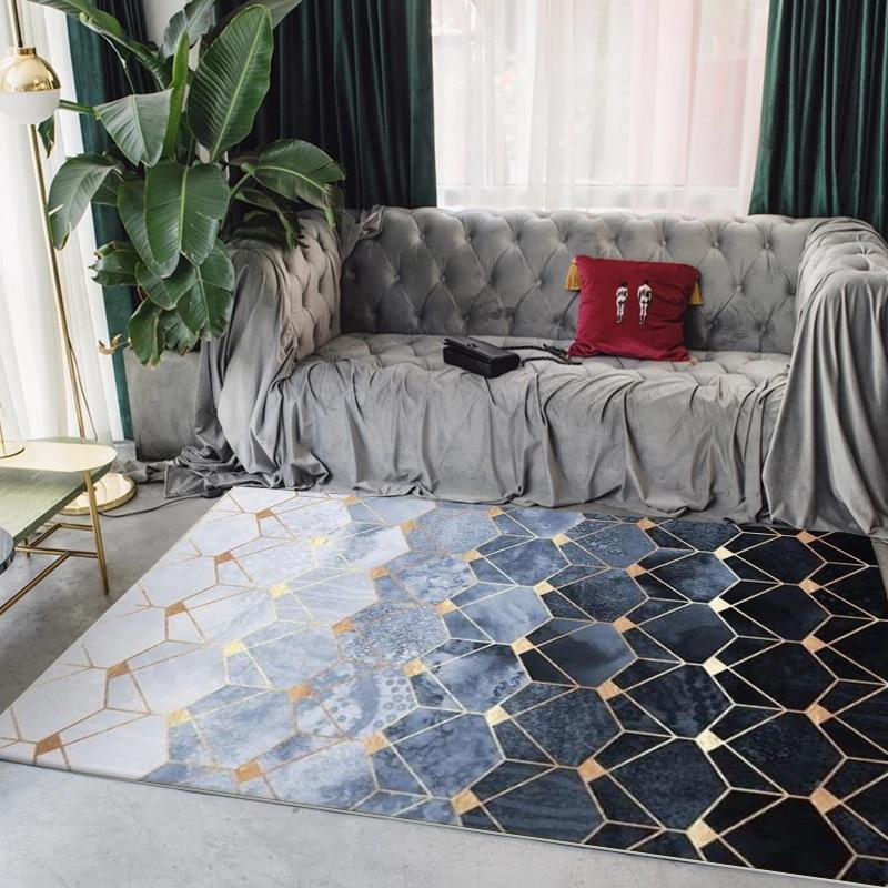 European Metal style plush livingroom carpet plush non slip bedroom rug bathroom kitchen Strip Geometric gold floormat customize in Carpet from Home Garden
