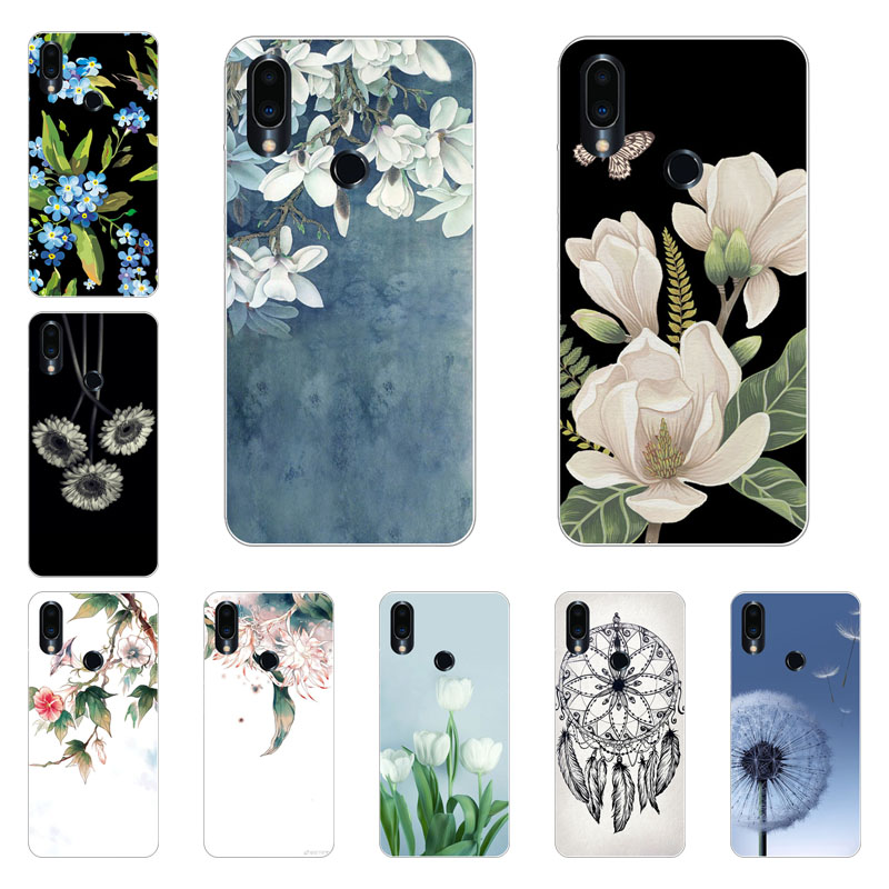 Meizu note 9 Case,Silicon White Floral Painting Soft TPU Back Cover for Meizu note9 Phone protect Bags shell