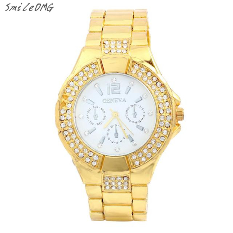 SmileOMG Hot Womens Fashion Women Golden Plated Metal Mesh Band Dial Quartz Analog Wrist Watch Free Shipping,Sep 22 smileomg hot sale fashion women crystal stainless steel analog quartz wrist watch bracelet free shipping christmas gift sep 5