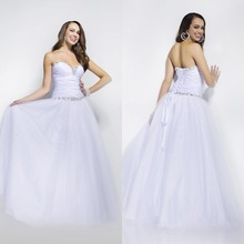 Neue Ballkleid Bodenlangen Weißen Tüll Abendkleid Lange Formale Kleid Backless Vestido De Festa Falten F936