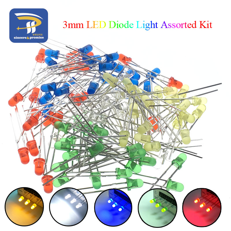 5Colors*20PCS=100PCS / 1Color=100pcs F3 3mm LED Diode Light Assorted Kit Green Blue White Yellow Red COMPONENT DIY Kit(China)
