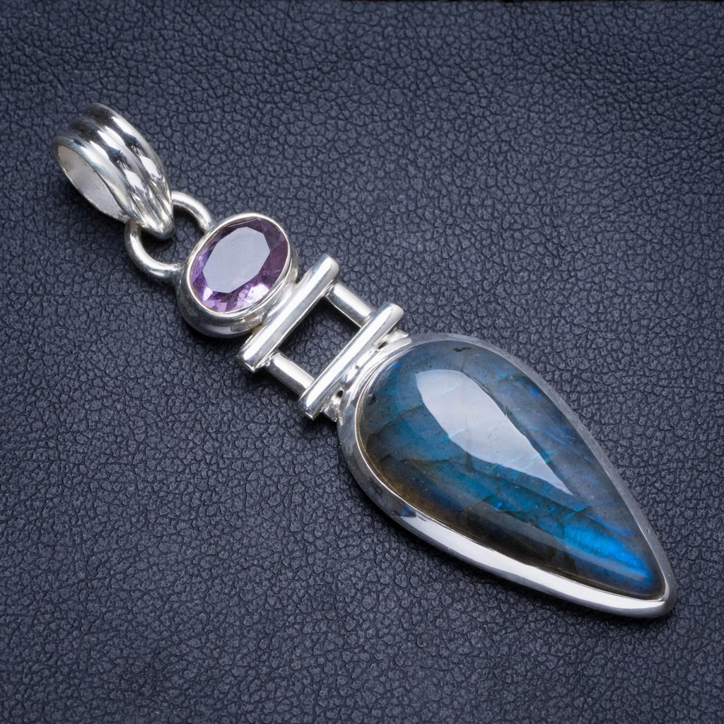 Natural Blue Fire Labradorite and Amethyst Handmade Unique 925 Sterling Silver Pendant 2.25 Y5248Natural Blue Fire Labradorite and Amethyst Handmade Unique 925 Sterling Silver Pendant 2.25 Y5248