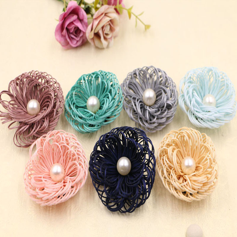 Wholesale 30PCs Round Pearl Core Leather Suede Cord 3D Flowers DIY Girls Hair Jewelry Clip Bow