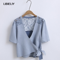 Solid Suede Jacobs With Belt Short Blouse Women Nice Summer Fashion Short Sleeve Shirts And Blouses
