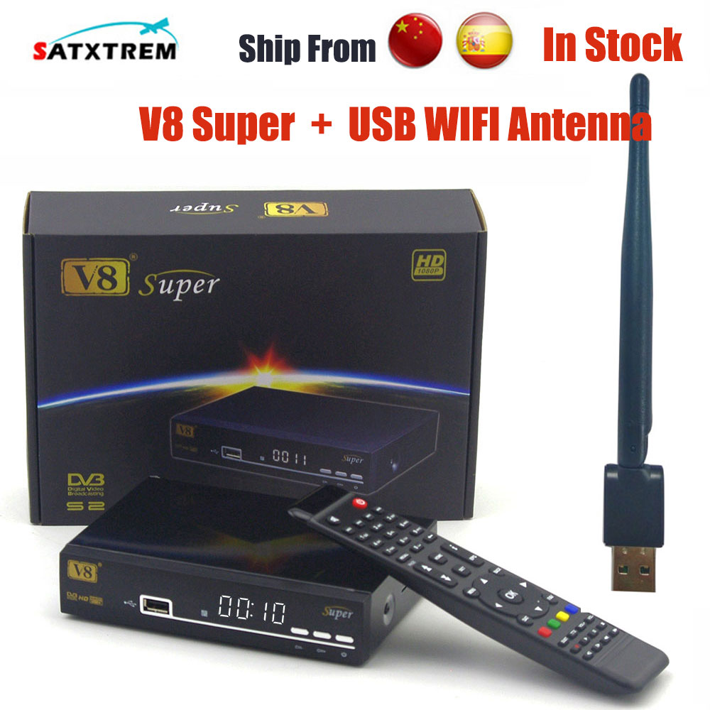 Freesat V8 super DVB-S2 Satellite Receiver Decoder With USB WIFI better than openbox Supported Full powervu cccam bisskey IPTV de it es channels dvb s s2 satellite fta lines 1 year cccam clines newcamd usb wifi satellite tv receiver for free shipping