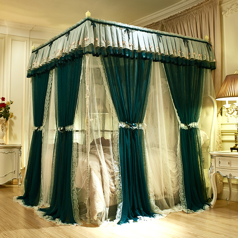 Green Pink Gray Double-deck Romantic White Lace Luxury Palac Style Three-door Quadrate Floor-standing Mosquito Net Bedding Set