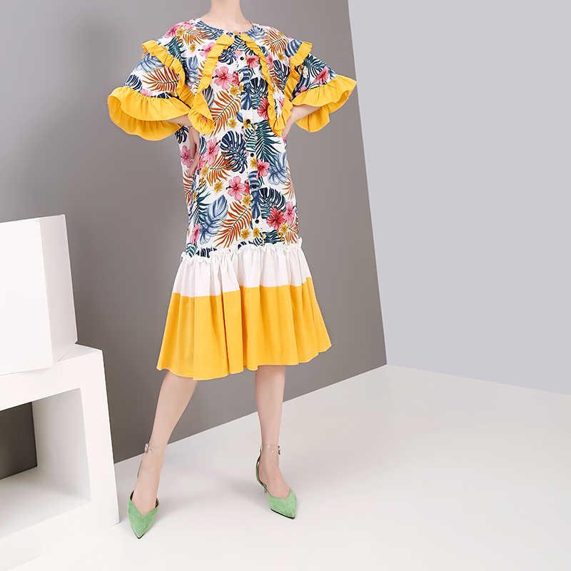 Новинка 2019, женская летняя одежда в Корейском стиле, платье с цветочным принтом, платье с коротким рукавом и оборками, Повседневное платье трапециевидной формы 5321