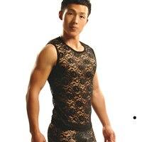 Spring And Summer Men S Lace Suit Vest Vest Men Underwear Sexy Transparent Hollow Perspective Can