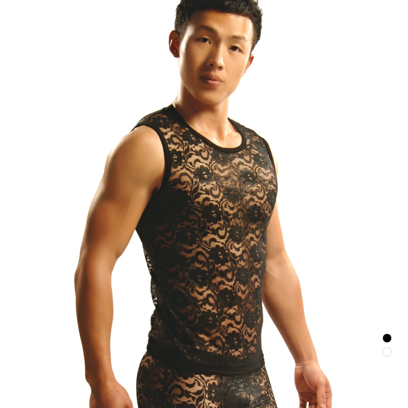 Vest lace suit men underwear sexy transparent hollow see-through shirt young gay boys Christmas Halloween Gift HOLELONG