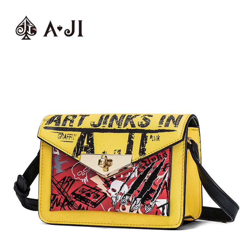 AJI Trend Girls Fashion Graffiti Bag Personality Single Shoulder Bag Young Women Messenger PU High Quality Drop Ship A6022AJI Trend Girls Fashion Graffiti Bag Personality Single Shoulder Bag Young Women Messenger PU High Quality Drop Ship A6022