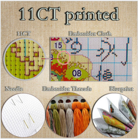 Tiger Animal Cross stitch kits DMC Cotton Counted 14CT White 11CT Printed Embroidery DIY Handmade Needlework Home Decor Sets