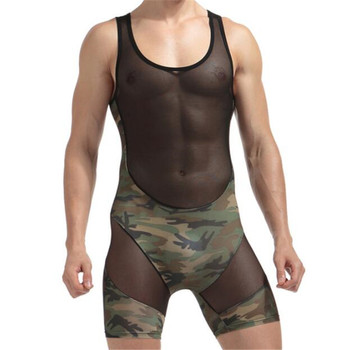 New Men's Singlet Underwear,Men's Camouflage Net Yarn Patchwork Bodysuits,Men's Bodywear 1