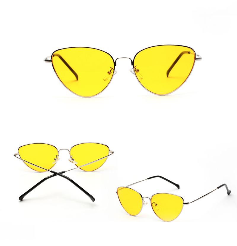 HTB1oRnoplUSMeJjy1zjq6A0dXXa2 - Retro Cat Eye Sunglasses Women Yellow Red Lens Sun glasses Fashion Light Weight Sunglass for women Vintage Metal Eyewear