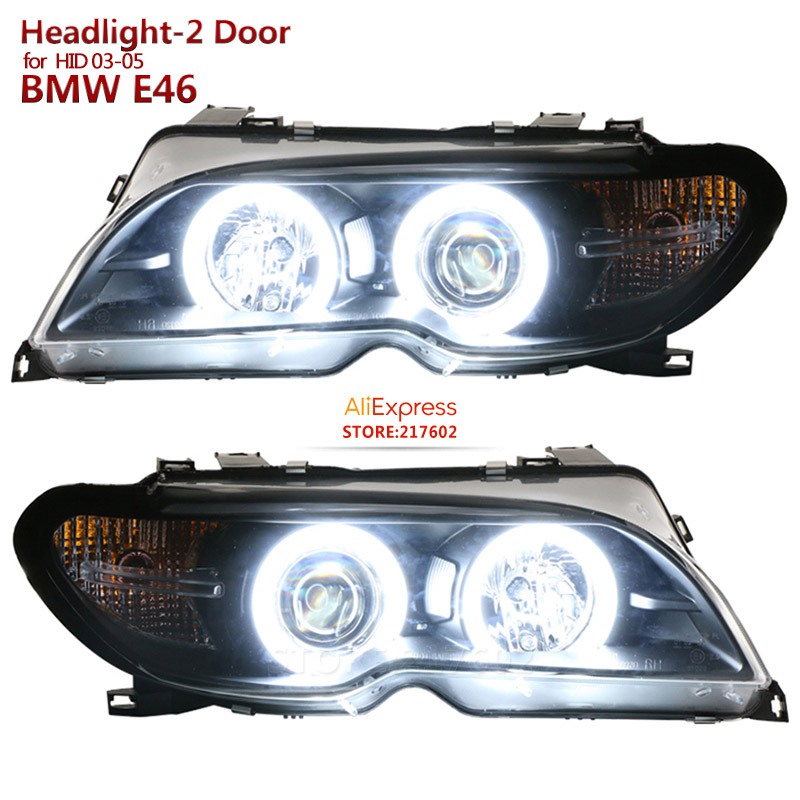 2003-2005 for BMW Original with Hid/xenon 3-Series E46 2 Door 320i 328i 325i Angel eye headlights Assembly Top Quality top upper mount for bmw 3 serie s e46 320 323 325 328 m3 1998 2005 blue front coilovers camber plate plates suspension domlager