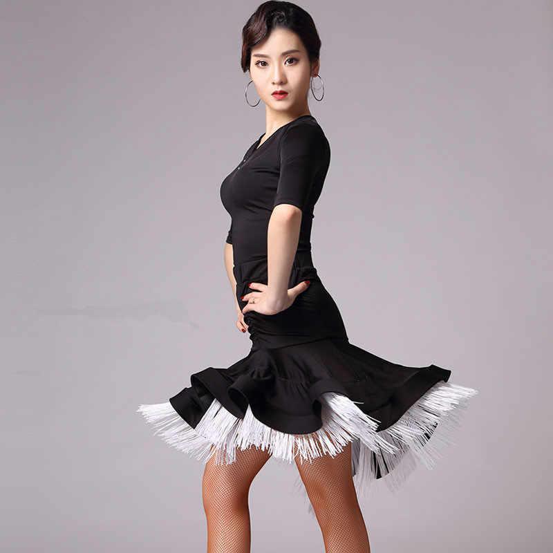 3b7458a10 ... 2019 Women Fringe Latin Dance Skirt Rose/Black/White Salsa/Rumba/Samba