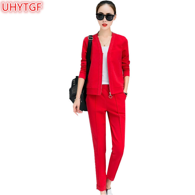 2d18d1db1586 UHYTGF Plus size Spring Autumn 2 piece set Women's 2018 Fashion Casual Slim  Sportswear Red Two-piece Suit Set Tops and pants 98